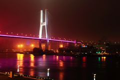 Nanpu Suspension Bridge at night in Shanghai Royalty Free Stock Photos