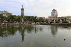nanputuo寺庙自由生活池塘在厦门大学附近 库存照片