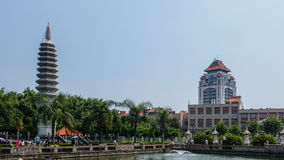 Nanputuo temple tower and Xiamen Univerity Royalty Free Stock Photography