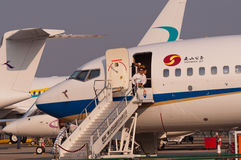 Nanshan Boeing BBJ stråle Arkivbilder