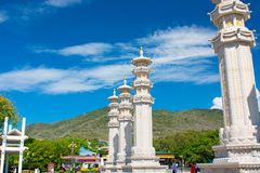 Nanshan Buddhism Center, a park full of religious sites. five star Park. high columns and iron drums for luck and prosperity. Sanya stock photos