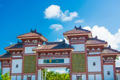 Nanshan Buddhism Center, view of the gates and beautiful with a bed in the form of a Peacock. the Park is five stars. Sanya stock image