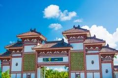 Nanshan-Buddhismus-Mitte, Ansicht der Tore und schönes mit einem Bett in Form eines Pfaus der Park ist fünf Sterne stockbild
