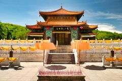 The temple, where the jade-golden statue of the goddess Guanyin is in the Nanshan park. Hainan, Sanya. stock images