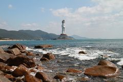 The Nanshan offshore Bodhisattva statue Stock Photo