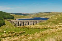 Nant-y-Moch Reservoir, Wales, UK. Welsh landscape and the dam of Nant-y-Moch Reservoir, Ceredigion, Dyfed, Wales, UK Stock Images