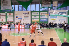 Nanterre - stb le havre. The basket game between Nanterre and  STB le Havre. French national first league Royalty Free Stock Photos
