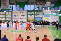 Nanterre - stb le havre. The basket game between Nanterre and  STB le Havre. French national first league Royalty Free Stock Images