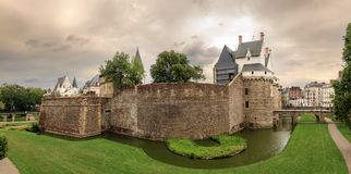 Nantes castle panorama with clouds Stock Photo