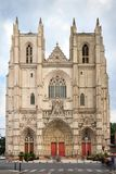 Nantes cathedral facade front view stock photos