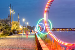 Nantes city in France. Night view on the illuminated promenade on Loire river in Nantes city in France Stock Photo