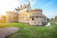 Nantes city in France. Sunset view on the castle of the Dukes of Brittany in Nantes city in France Stock Images