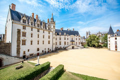 Nantes city in France. View on the castle of Dukes of Brittany during the sunny weather in Nantes city in France Royalty Free Stock Image