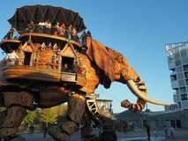 Nantes, France. The amusement park Machines of the Isle of Nantes. The big elephant royalty free stock photo