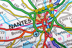 Nantes map. The city of Nantes in detail on the map Stock Photo