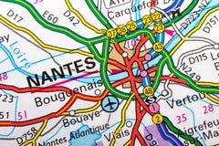 Nantes mapa Zdjęcie Stock