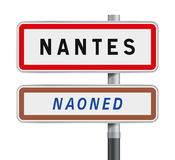Nantes road signs entrance. Vector illustration of Nantes road signs entrance with the Breton traduction Naoned Stock Images
