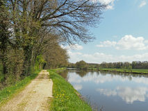 Nantes to Brest canal in spring, France. Nantes to Brest canal in spring, Guenrouet area Stock Photography