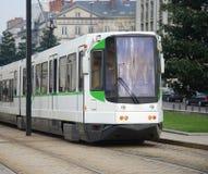 Nantes tram. Tram in Nantes, France. Rear view Royalty Free Stock Photo
