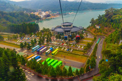 Nantou, Taiwan - November 21, 2015: The Sun Moon Lake Ropeway is. A scenic gondola cable car service that connects Sun Moon Lake with the Formosa Aboriginal royalty free stock images