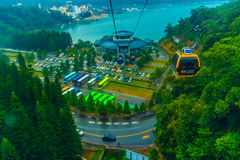 Nantou, Taiwan - November 21, 2015: The Sun Moon Lake Ropeway is. A scenic gondola cable car service that connects Sun Moon Lake with the Formosa Aboriginal stock image