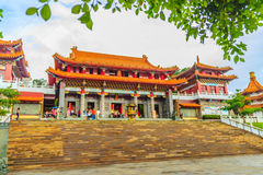 Nantou, Taiwan - November 21, 2015: Tourist visited the beautiful of Sun Moon Lake Wen Wu Temple nearby Sun Moon Lake in Yuchi To. Wnship, Nantou County, Taiwan stock photo