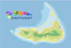 nantucket Карта вектора Географическая карта детализированная с designat Иллюстрация штока