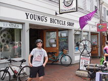Nantucket Bike rentals. Many visitors to Nantucket Island opt to leave there cars on the mainland and and rent bicycles once they get on the island Royalty Free Stock Photo
