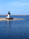 Nantucket Island Lighthouse. Sailing past the Brant Light on Nantucket on a calm summer morning stock photography