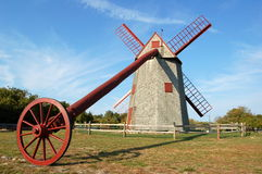 Nantucket, MA: 1746 Old Mill. The finely restored 1746 Old Mill still operates with its original machinery and grinding stones on Nantucket Island, Massachusetts Stock Photography