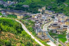 Aerial view of Nanxi Tulou cluster in fujian, china stock photo
