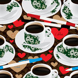 Кофейное зерно Nanyang пишет влюбленности ручки безшовную картину Стоковые Изображения RF