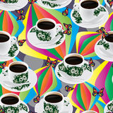 Nanyang coffee cup buttefly colorful seamless pattern Royalty Free Stock Images