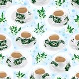 Nanyang tea cup fresh leaf seamless pattern Royalty Free Stock Photography