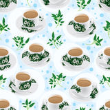 Nanyang Tea Cup Fresh Leaf Seamless Pattern Royalty Free Stock Photography
