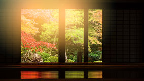 Nanzen-ji temple interio at autumn, Kyoto. Autumn foliage colors against sunset light with Nanzen-ji temple interior, Kyoto, Japan Stock Photography