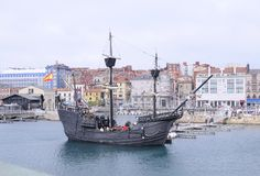 Nao Victoria. GIJON, SPAIN - APRIL 5: The only replica of the Spanish carrack 'Nau Victoria', the first ship to successfully circumnavigate the world, docks at Stock Photography