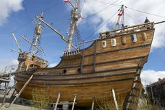 Nao Victoria, Magellan's ship replica in Punta Arenas, Chile. Royalty Free Stock Photos