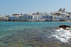 Naousa stad, Paros ö, Cyclades Fotografering för Bildbyråer