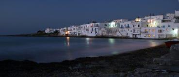 Naoussa en la oscuridad. Paros, Grecia imagen de archivo libre de regalías