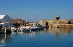 Naoussa fishing harbor, Paros, Greece. The traditional fishing harbor of Naoussa on the island of Paros, Greece royalty free stock photos