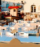 Naoussa restaurant seating area stock photo