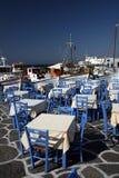 Naoussa - Tableaux au vieux port Photos stock