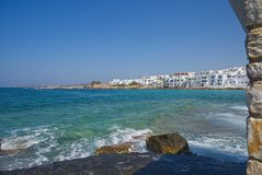 Naoussa village and harbor - Aegean Sea - Paros Cyclades island - Greece. View of Naoussa village and harbor - Aegean Sea - Paros Cyclades island - Greece royalty free stock images