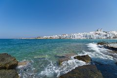 Naoussa village and harbor - Aegean Sea - Paros Cyclades island - Greece. View of Naoussa village and harbor - Aegean Sea - Paros Cyclades island - Greece stock photos