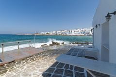 Naoussa village and harbor - Aegean Sea - Paros Cyclades island - Greece. View of Naoussa village and harbor - Aegean Sea - Paros Cyclades island - Greece royalty free stock photo