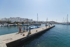 Naoussa village and harbor - Aegean Sea - Paros Cyclades island - Greece. View of Naoussa village and harbor - Aegean Sea - Paros Cyclades island - Greece royalty free stock image