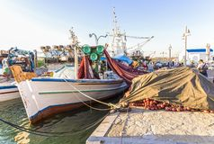 Colorful Greek Fishing Boats . Editorial Image stock image