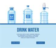 Napój woda w plastikowym butelka secie na białej tło strony internetowej projekta sztandaru wektoru ilustracji Zdrowe agua butelk royalty ilustracja