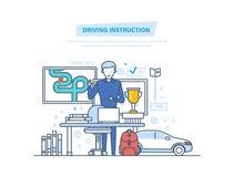 Napędowa instrukcja samochodem Napędowa szkoła lub uczenie jechać royalty ilustracja
